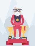 Viejo hombre en un podio de los ganadores en deporte Fotografía de archivo libre de regalías