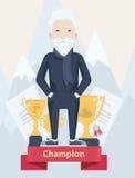 Viejo hombre en un podio de los ganadores en deporte Imagen de archivo libre de regalías