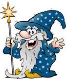 Viejo hombre feliz de la magia del mago Fotos de archivo