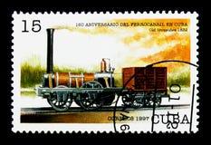 Viejo hombre fuerte (los E.E.U.U. 1832), 160 años de ferrocarriles cubanos: Locomotora Foto de archivo libre de regalías