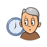 Viejo hombre que es confuso y olvidadizo sobre tiempo Icono del diseño de la historieta Ejemplo plano del vector Aislado en blanc ilustración del vector