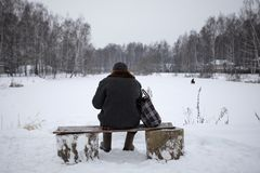 Viejo hombre que se sienta en un banco en el invierno, la visión desde la parte posterior Imágenes de archivo libres de regalías