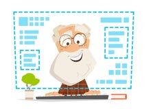 Viejo hombre que sienta la educación en línea del monitor de computadora delantero Imagen de archivo libre de regalías