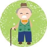 Viejo hombre que sostiene un bastón Fotos de archivo