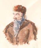 Viejo hombre rural del pueblo, bosquejo dibujo de lápiz pintado a mano Foto de archivo
