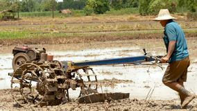 Viejo hombre usando un pequeño tractor para arar la granja para ajustar el suelo para que haya plantar almacen de metraje de vídeo