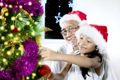 Viejo hombre y nieta con el árbol de navidad Fotografía de archivo