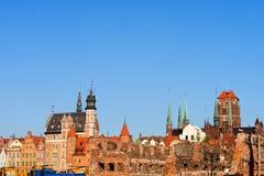 Viejo horizonte de la ciudad de Gdansk Fotos de archivo