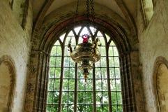 Viejo icono de la iglesia en una abadía histórica Imagenes de archivo
