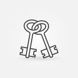 Viejo icono del esquema de las llaves ilustración del vector