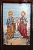 Viejo icono ortodoxo de los apóstoles San Pedro y Saint Paul fotografía de archivo