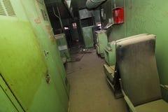 Viejo interior abandonado del tren Imagenes de archivo