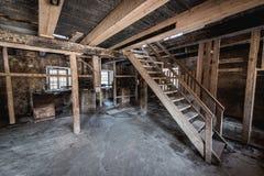 Viejo interior abandonado del watermill Fotos de archivo