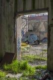 Viejo interior constructivo abandonado Foto de archivo libre de regalías