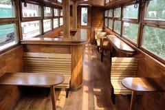 Viejo interior del carro ferroviario Fotos de archivo