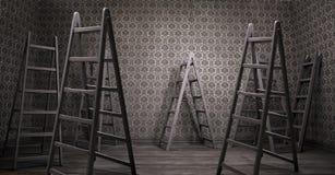 Viejo interior oxidado con muchas escaleras Imagen de archivo libre de regalías