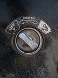 Viejo interruptor del metal del primer Fotografía de archivo
