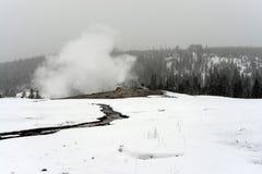 Viejo invierno fiel del géiser Fotos de archivo libres de regalías