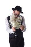 Viejo judío con los billetes de dólar Imagen de archivo libre de regalías