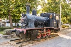 Viejo Krupp locomotor alemán en la estación de Larissa, Grecia fotos de archivo libres de regalías