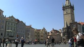 Viejo lapso de tiempo de la plaza, Praga almacen de metraje de vídeo
