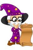 Viejo mago en la púrpura - mirada de una voluta Foto de archivo libre de regalías