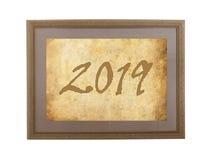 Viejo marco con el papel marrón - 2019 Fotos de archivo libres de regalías
