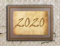 Viejo marco con el papel marrón - 2020 Imagen de archivo libre de regalías