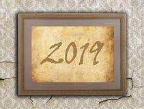 Viejo marco con el papel marrón - 2019 Fotografía de archivo