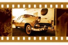 Viejo marco de 35m m con el coche retro de los E.E.U.U. Imagen de archivo libre de regalías