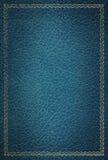 Viejo marco de cuero azul del oro de la textura Imagenes de archivo
