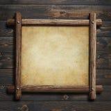 Viejo marco de madera con el documento o el pergamino sobre el ejemplo de madera del fondo 3d ilustración del vector