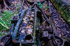 Viejo marco del coche en bosque Imagen de archivo