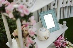 Viejo marco en el estante Fotografía de archivo libre de regalías