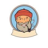 Viejo marinero con el tubo Carácter del retrato Etiquetas del vector de la pesca Viejo marinero Tattoos Viejo marinero Picture Imágenes de archivo libres de regalías