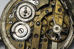 Viejo mecanismo del reloj de bolsillo Foto de archivo libre de regalías