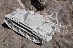 Viejo modelo antiguo Gray Tank de la estatuilla de Vinatge Imágenes de archivo libres de regalías