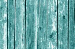 Viejo modelo de madera de la cerca en color ciánico imagenes de archivo
