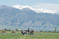 Viejo Montana Combine Imagenes de archivo