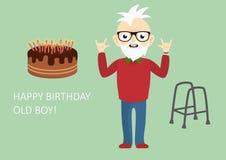 Viejo muchacho del feliz cumpleaños stock de ilustración
