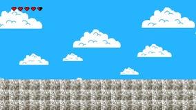 Viejo nivel del videojuego con el cielo azul que camina adelante en lazo inconsútil