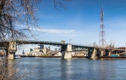 Viejo paisaje del puente de Sorel-Tracy Foto de archivo libre de regalías
