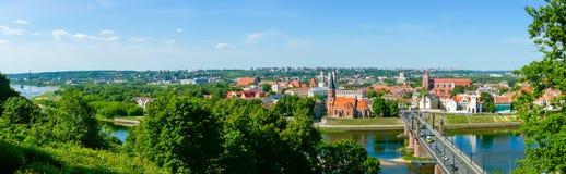 Viejo paisaje del tiempo del día de la ciudad de Kaunas Foto de archivo libre de regalías
