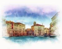 Viejo paisaje veneciano Italia Bosquejo de la acuarela Imágenes de archivo libres de regalías