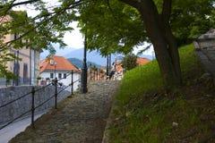 Viejo panorama de Kamnik de la ciudad Foto de archivo
