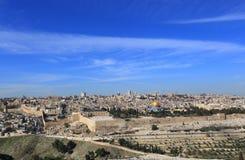 Viejo panorama de la ciudad de Jerusalén Imagen de archivo libre de regalías