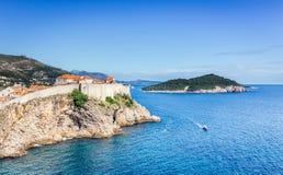 Viejo panorama de la ciudad de Dubrovnik, Croacia imagen de archivo