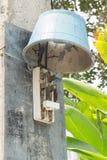 Viejo peligro del interruptor de la electricidad Imagen de archivo libre de regalías