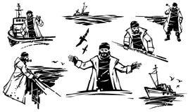 Viejo pescador profesional barbudo El viejo marinero se coloca en la cubierta y mira en la distancia ilustración del vector