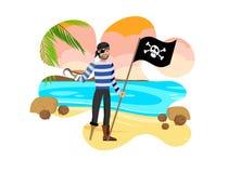 Viejo pirata que celebra el ejemplo del vector de Black Flag stock de ilustración
